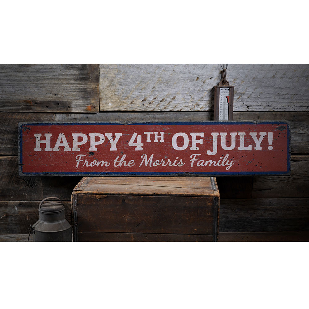 Happy Fourth of July Vintage Wood Sign