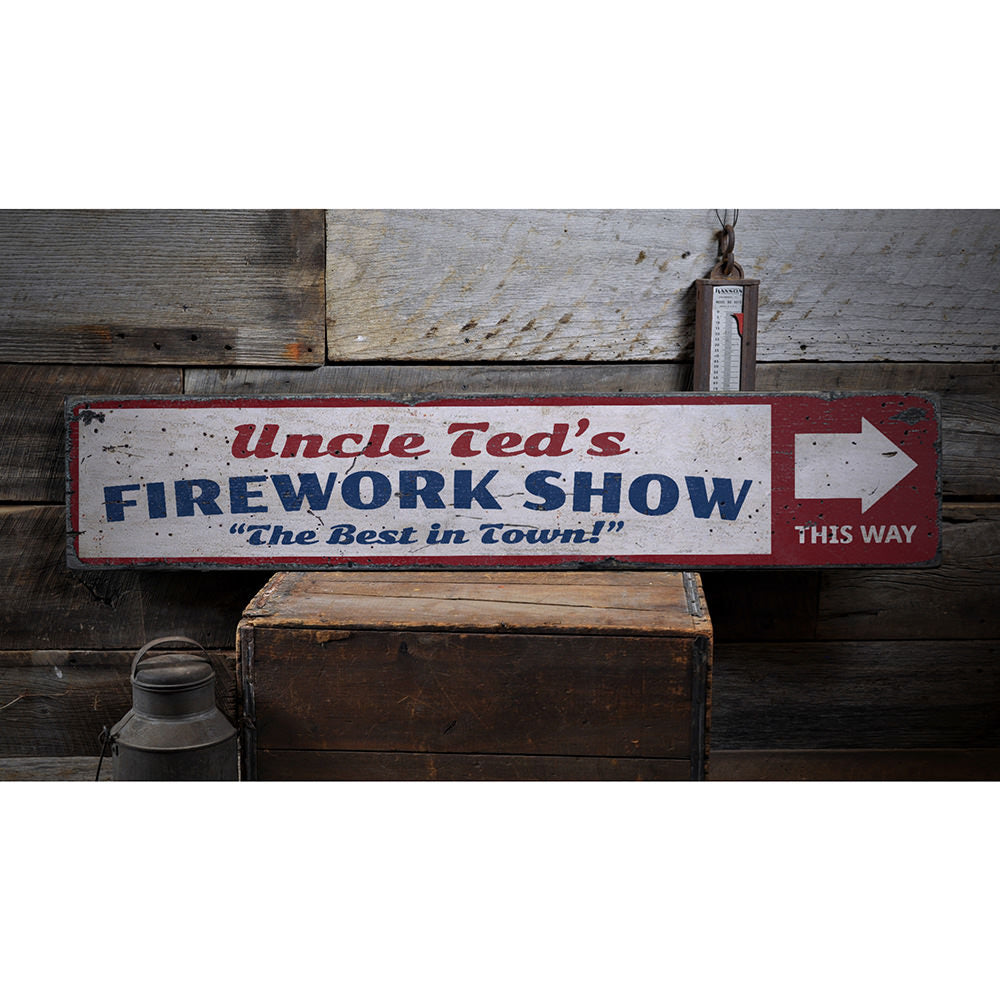 Firework Show Vintage Wood Sign