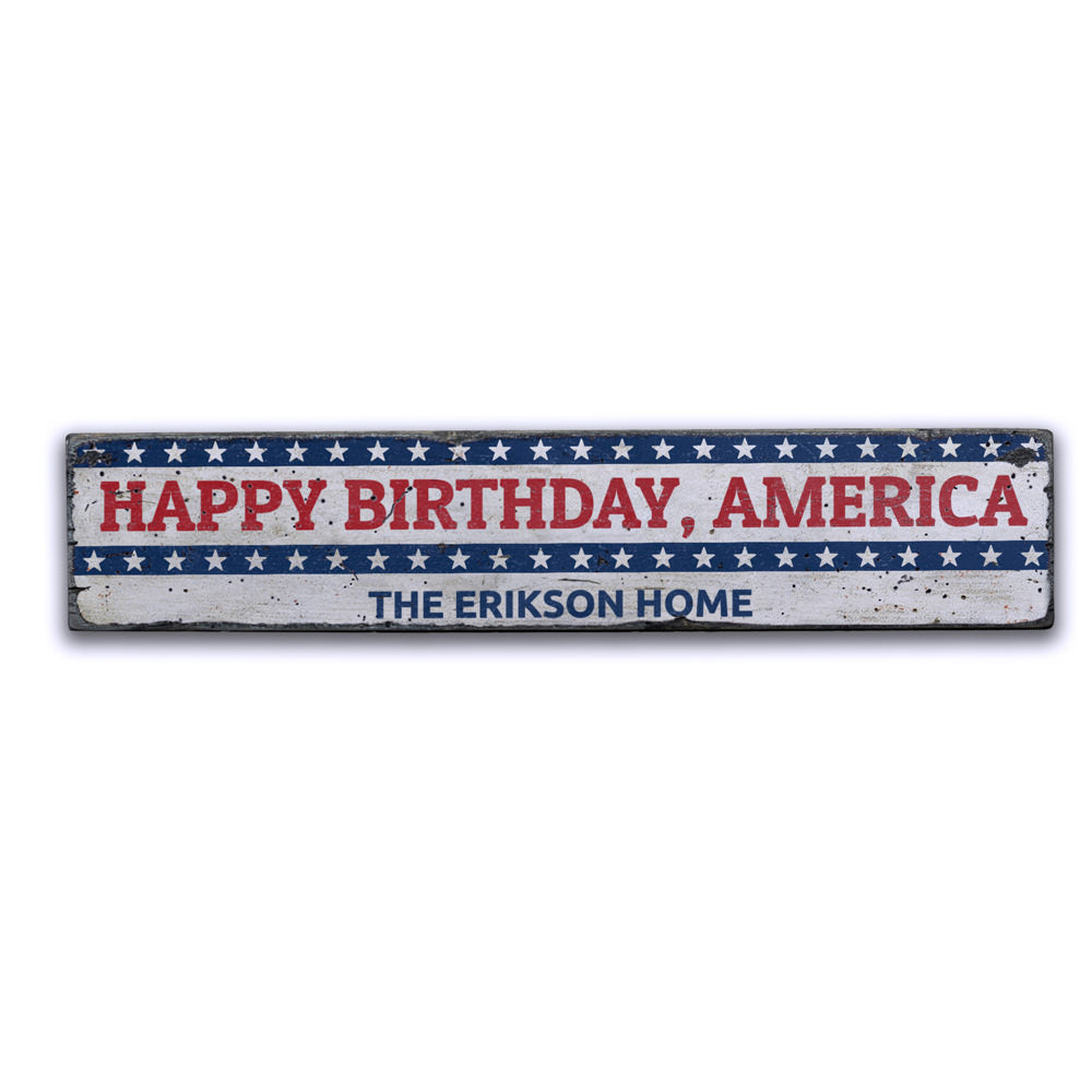 Happy Birthday America Vintage Wood Sign