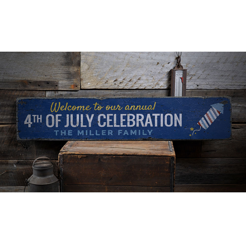 Annual 4th of July Welcome Vintage Wood Sign