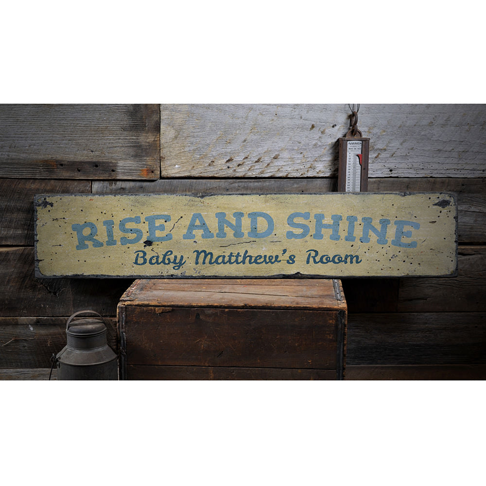Rise and Shine Vintage Wood Sign