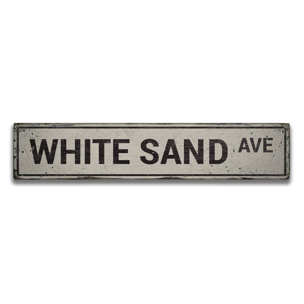 White Sand Avenue Vintage Wood Sign