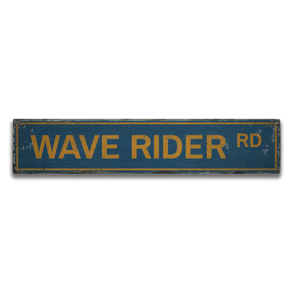 Wave Rider Road Vintage Wood Sign