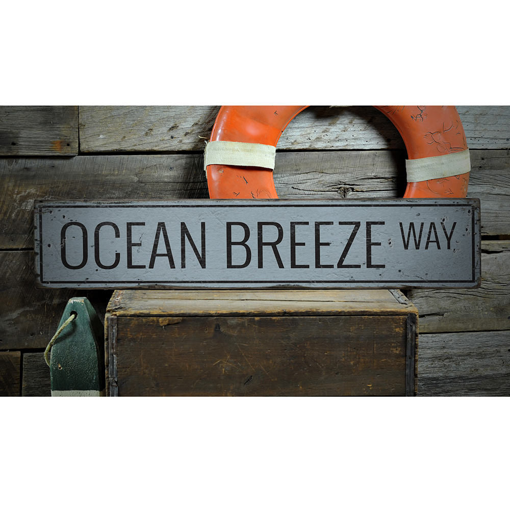 Ocean Breeze Way Vintage Wood Sign