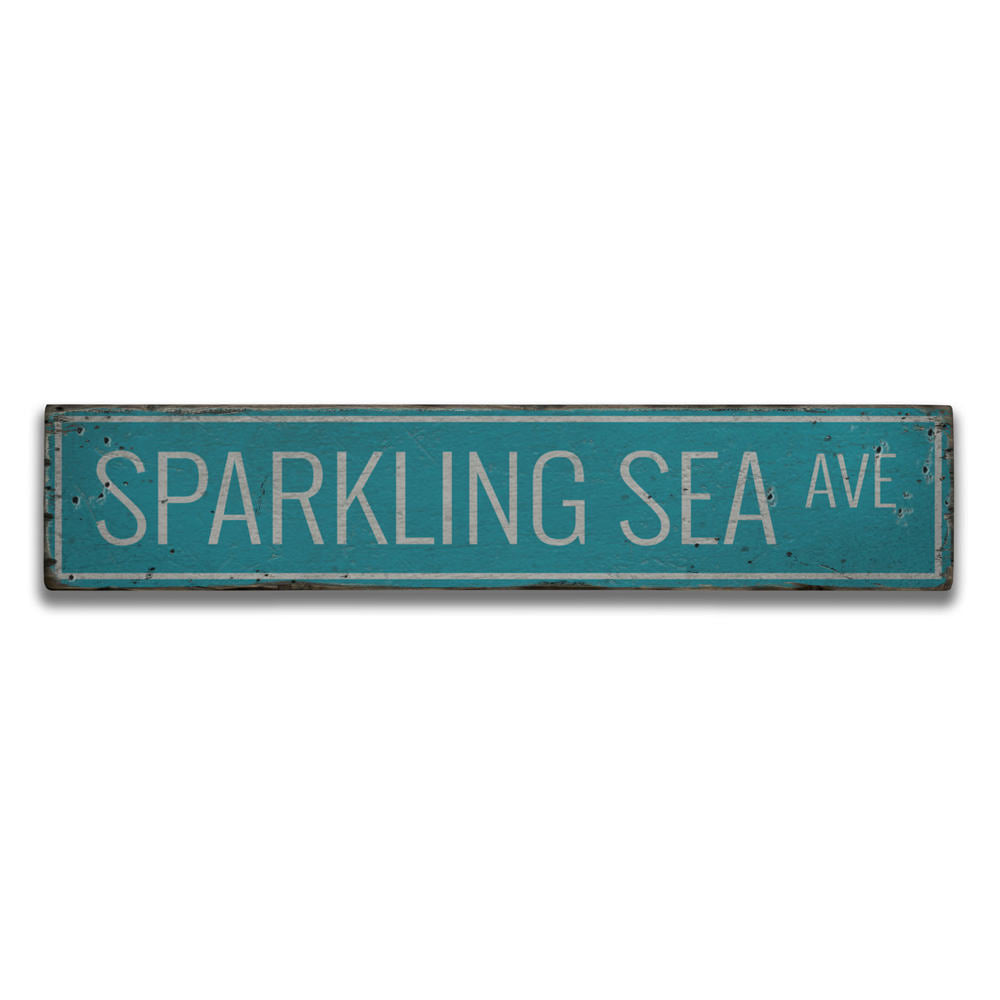 Sparkling Sea Avenue Vintage Wood Sign