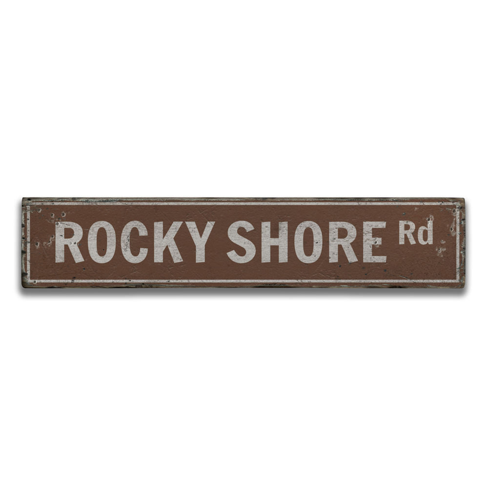 Rocky Shore Road Vintage Wood Sign