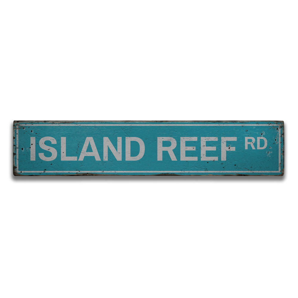 Island Reef Road Vintage Wood Sign