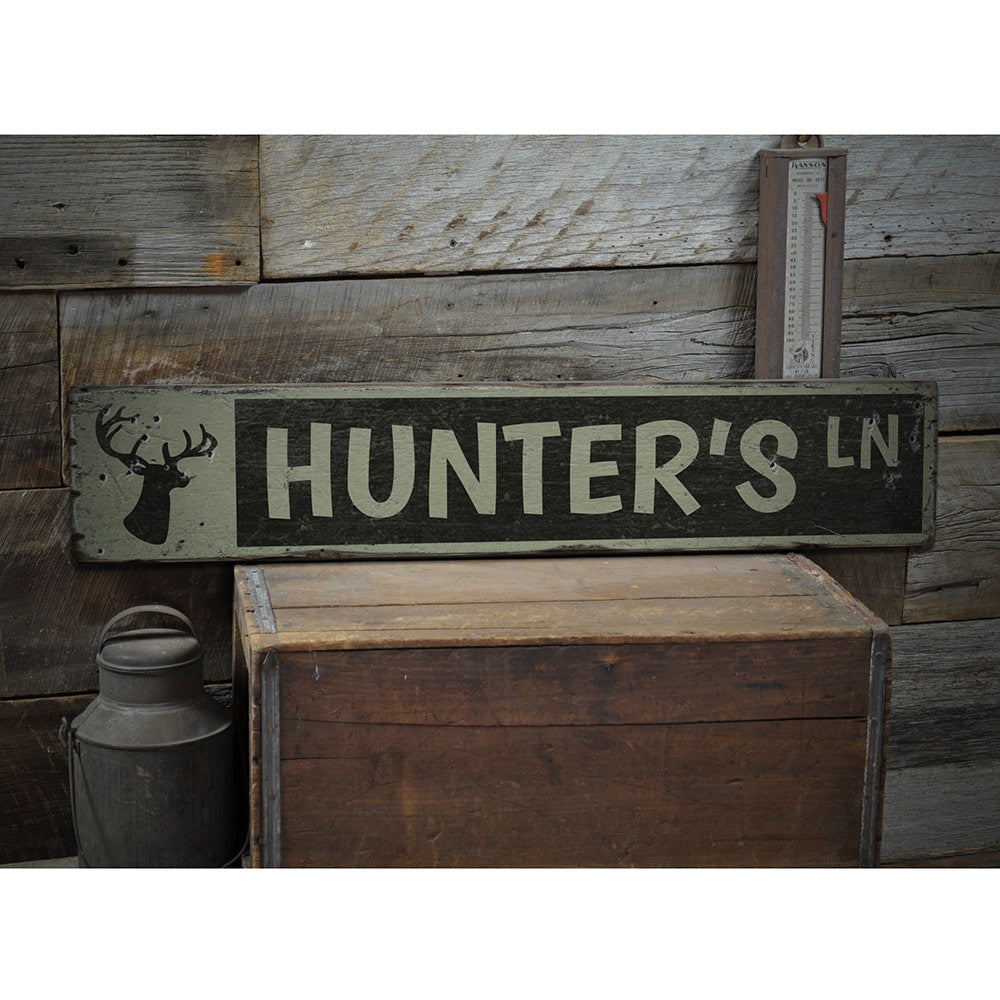 Hunter's Lane Vintage Wood Sign