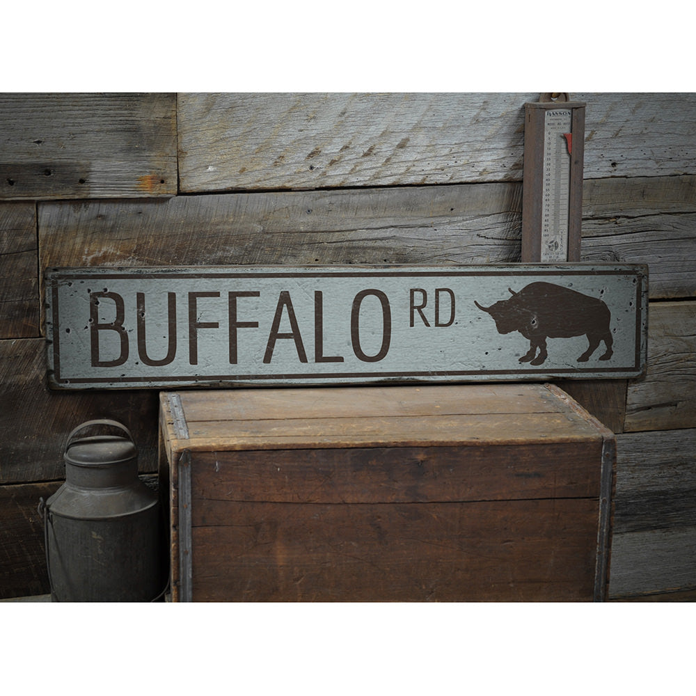 Buffalo Road Vintage Wood Sign