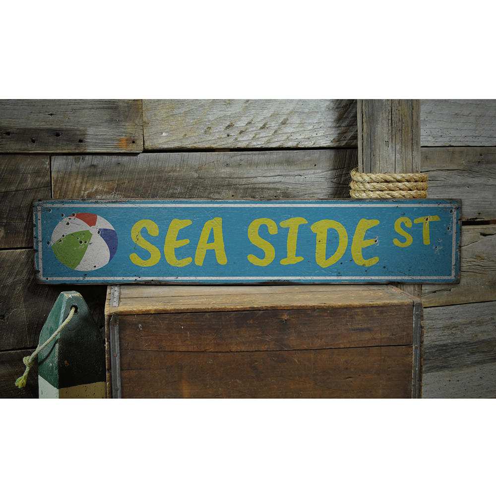 Seaside Street Vintage Wood Sign