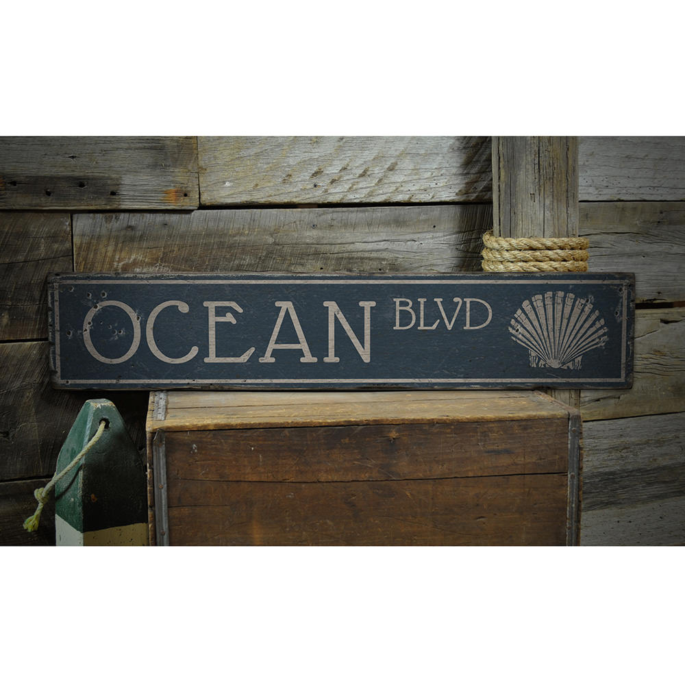Ocean Blvd Vintage Wood Sign