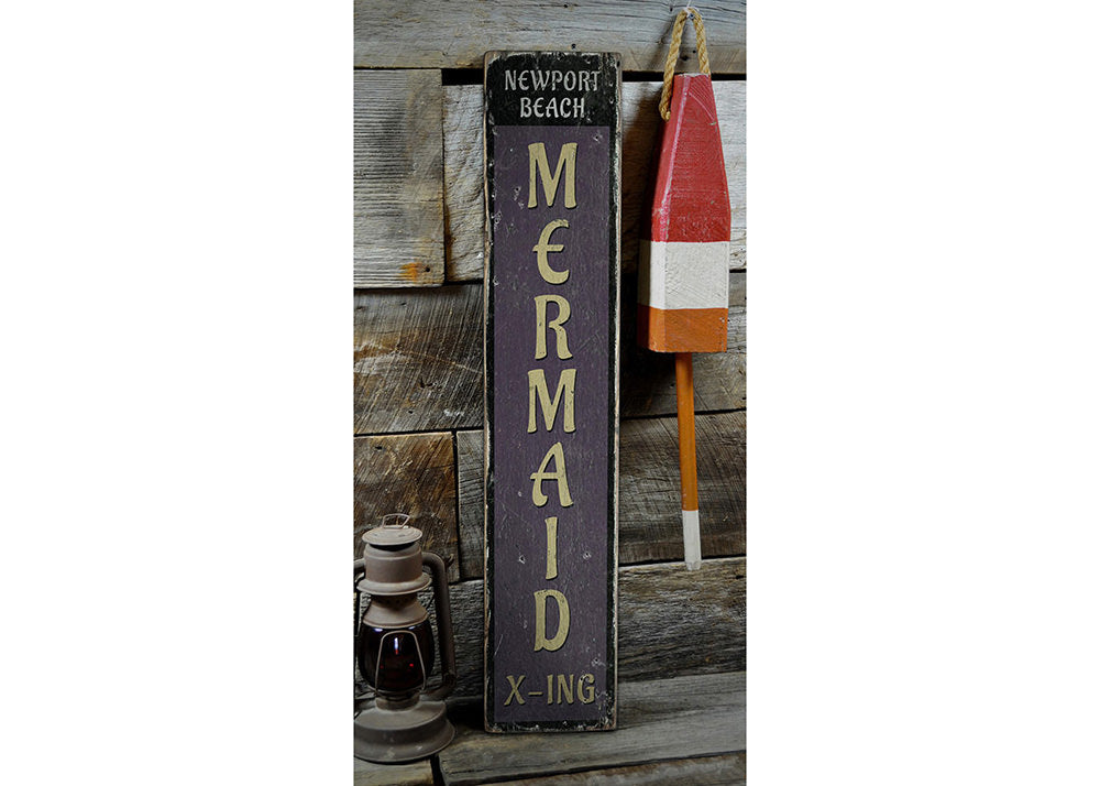 Mermaid Crossing Vertical Rustic Wood Sign