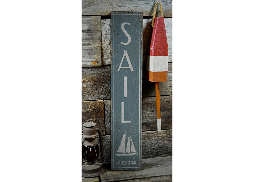 Sail Vertical Rustic Wood Sign