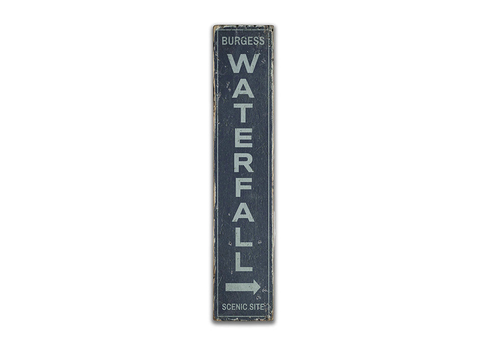 Waterfall Vertical Rustic Wood Sign