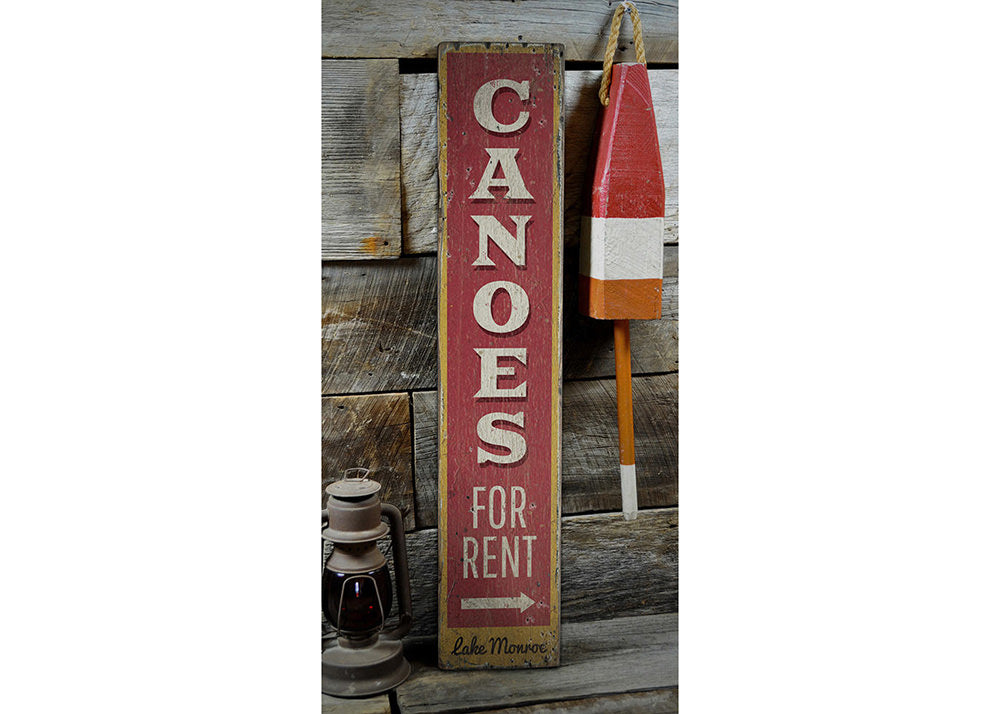 Canoes for Rent Arrow Vertical Rustic Wood Sign