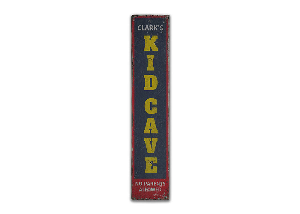 Kids Cave Vertical Rustic Wood Sign
