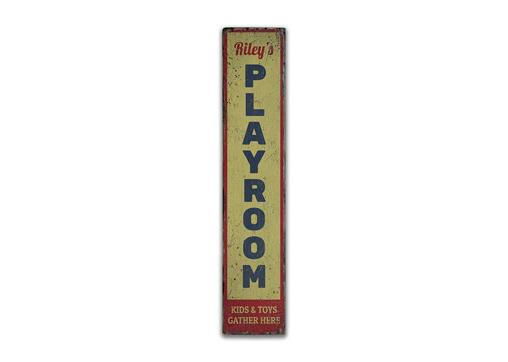 Playroom Vertical Rustic Wood Sign