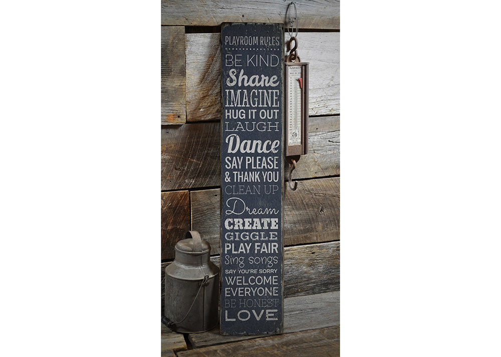 Playroom Rules Rustic Wood Sign