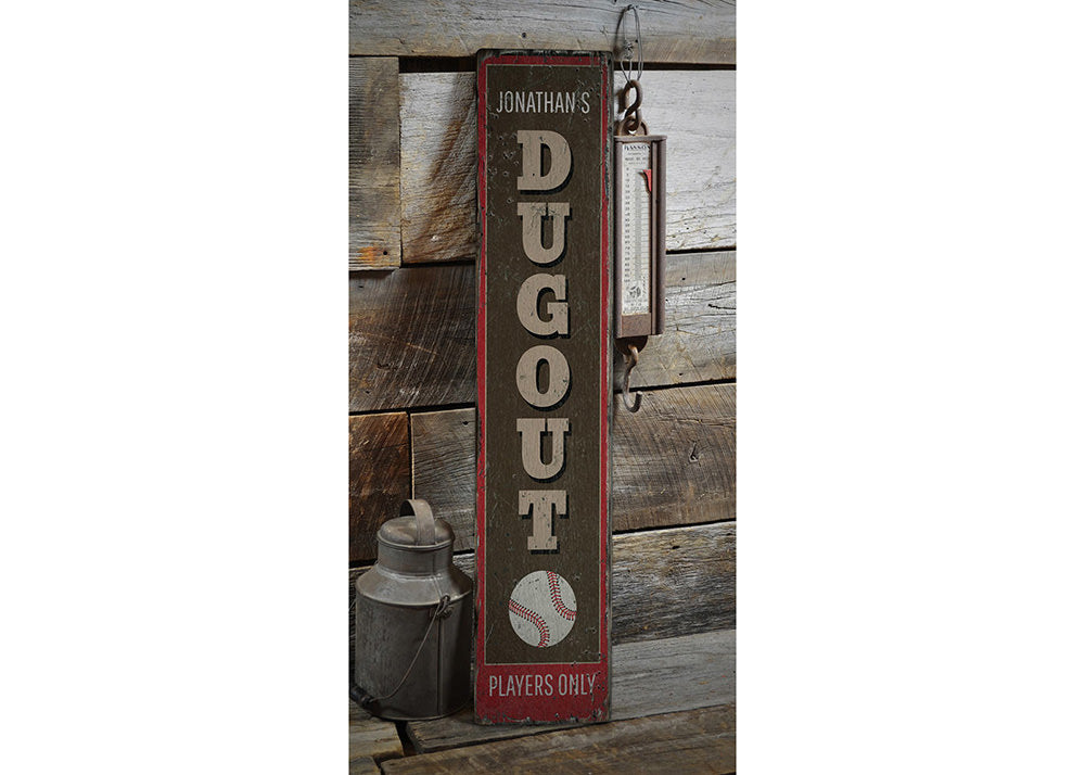 Baseball Dugout Rustic Wood Sign