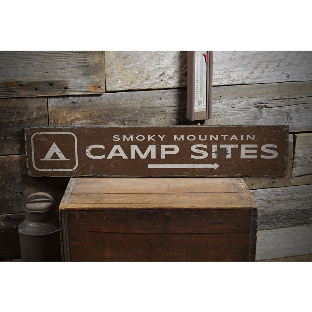 Campsites Arrow Vintage Wood Sign