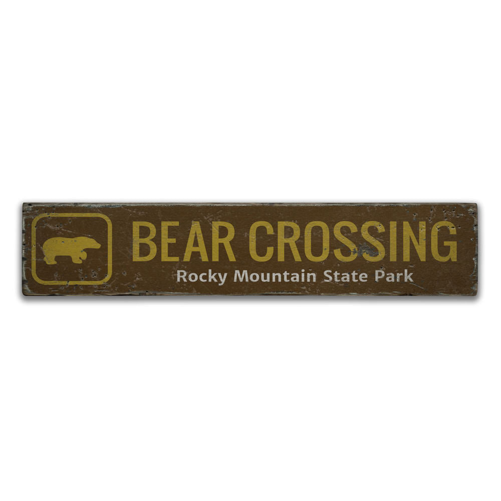 Bear Crossing Trail Vintage Wood Sign