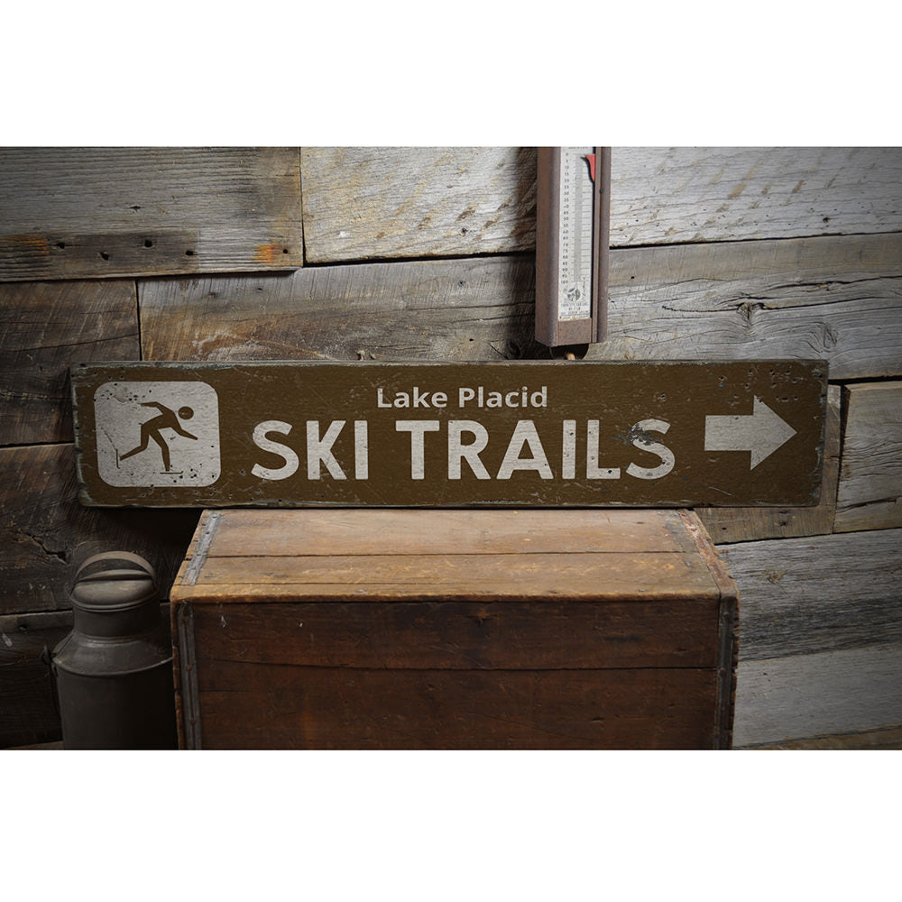 Ski Trails Arrow Vintage Wood Sign