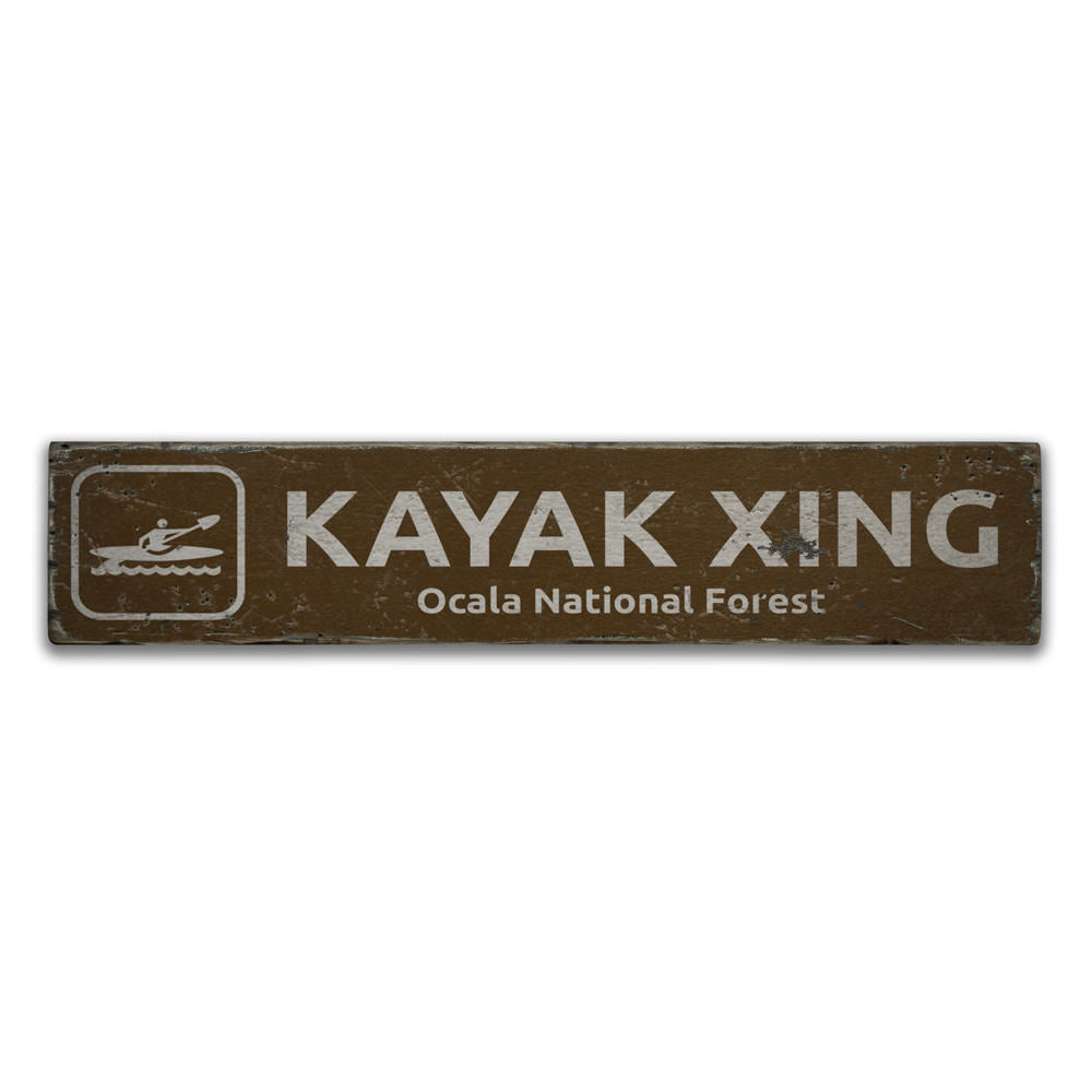 Kayak Crossing Vintage Wood Sign