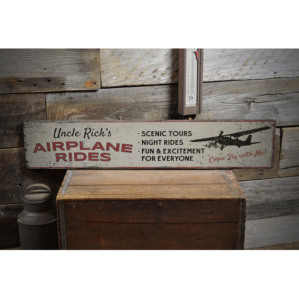 Airplane Rides Name Vintage Wood Sign