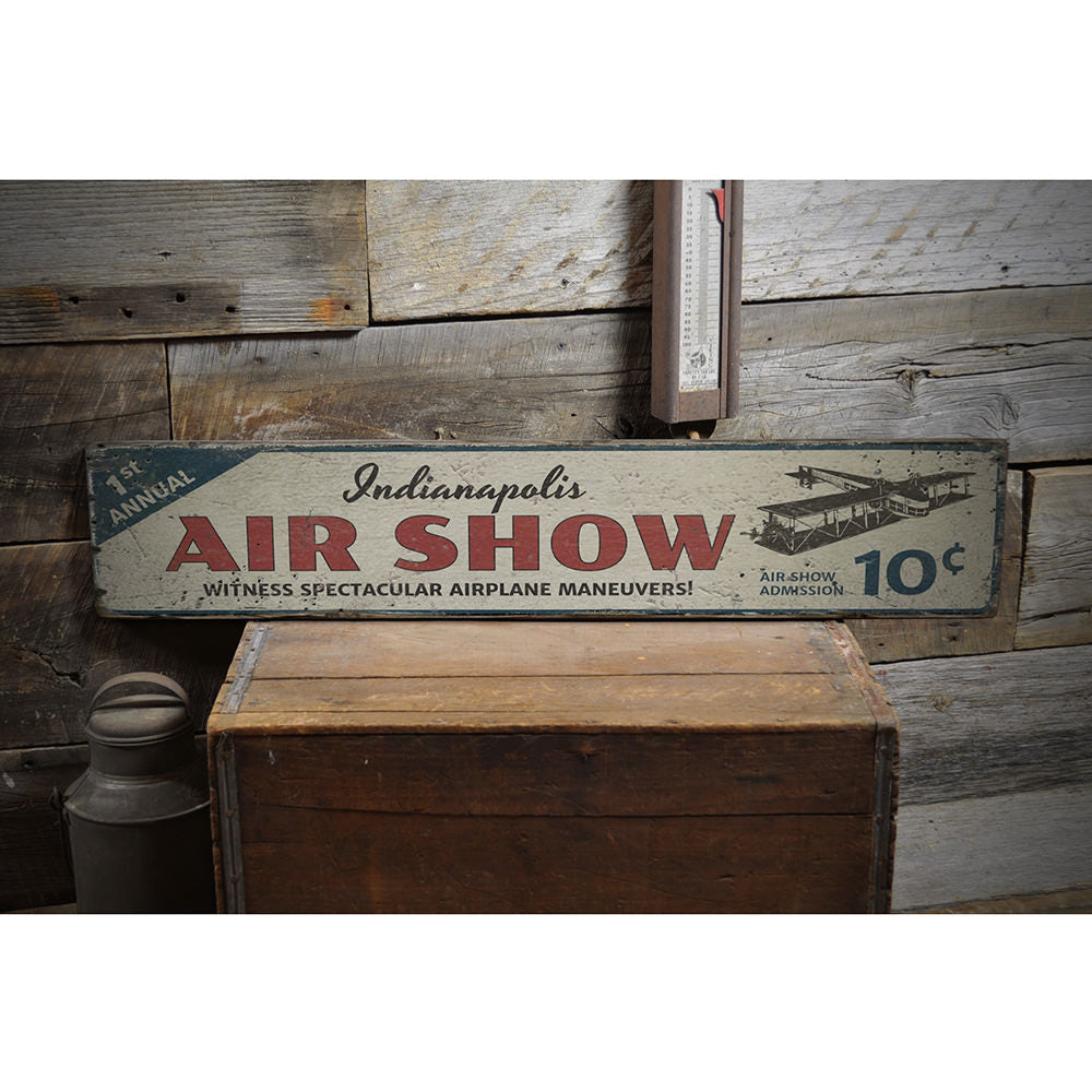 Air Show City Vintage Wood Sign