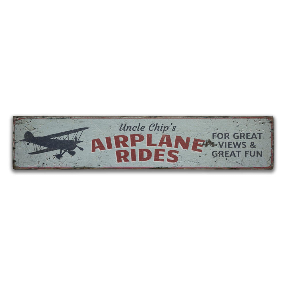 Pilot Airplane Rides Vintage Wood Sign
