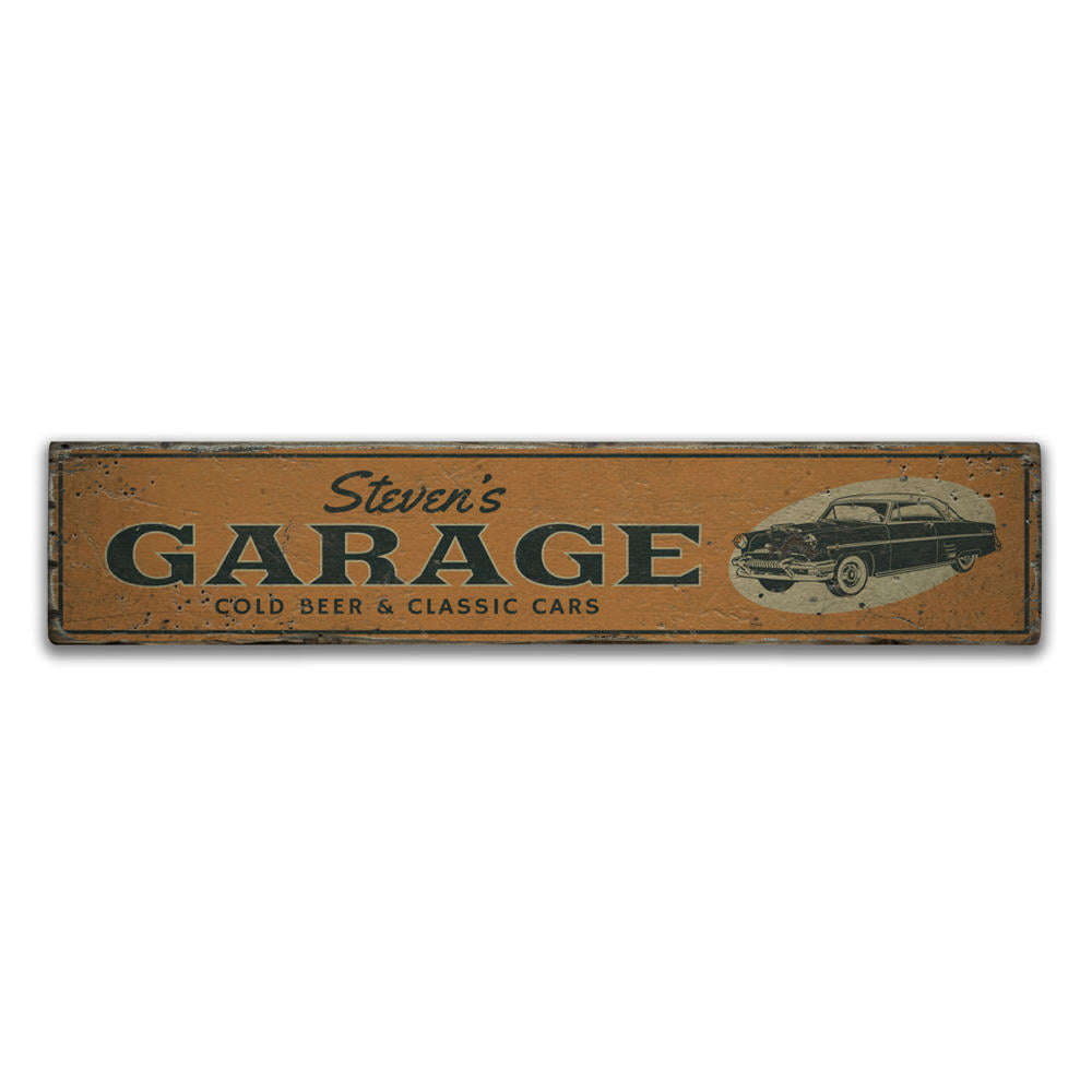 Cold Beer & Classic Cars Vintage Wood Sign