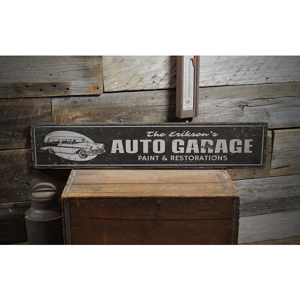 Auto Garage Rustic Wood Sign