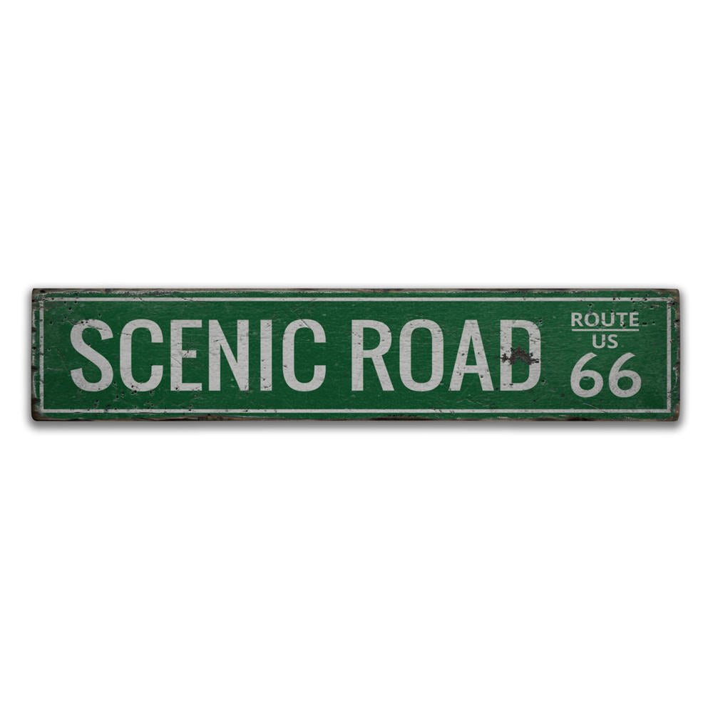 Scenic Road US Route 66 Vintage Wood Sign