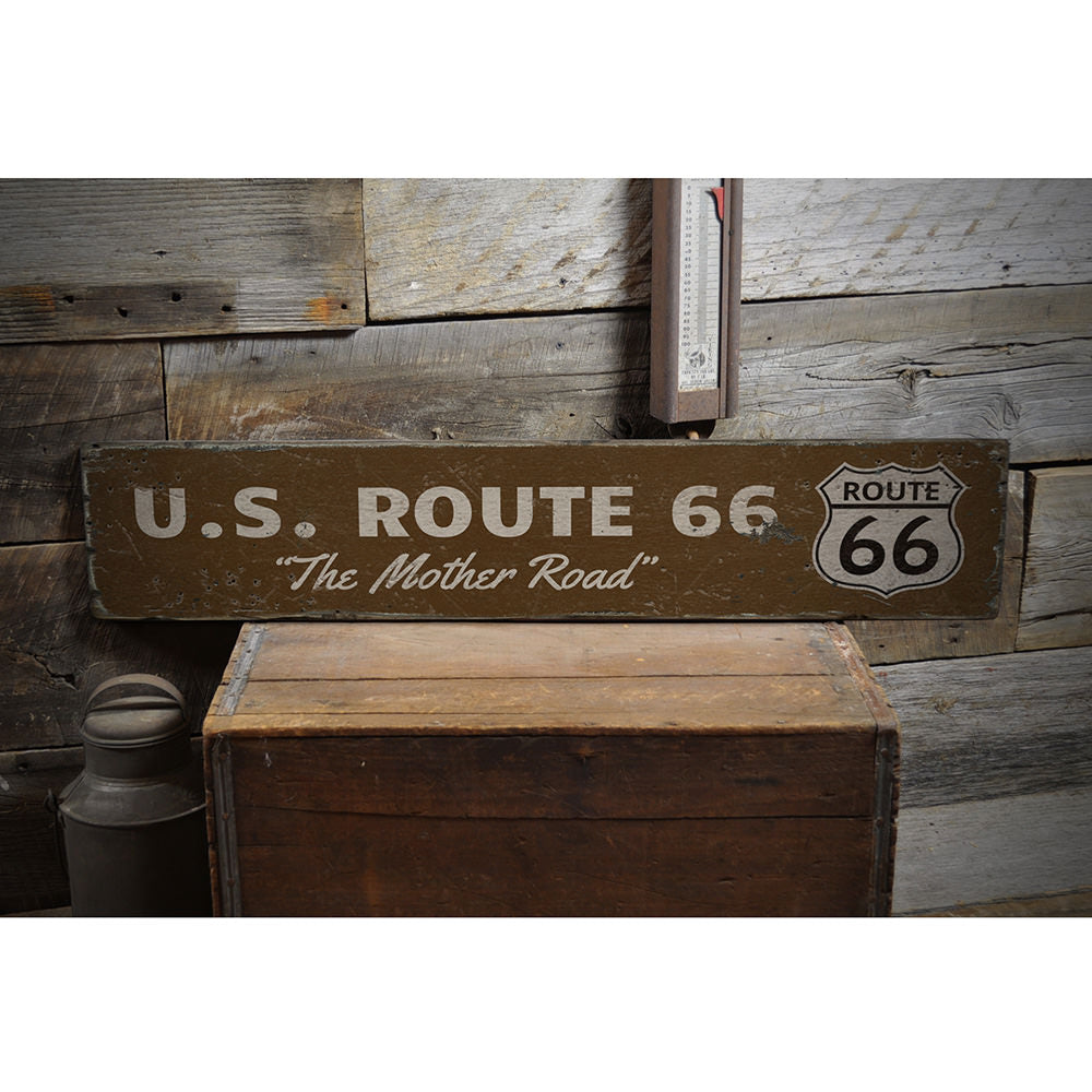 US Route 66 Vintage Wood Sign