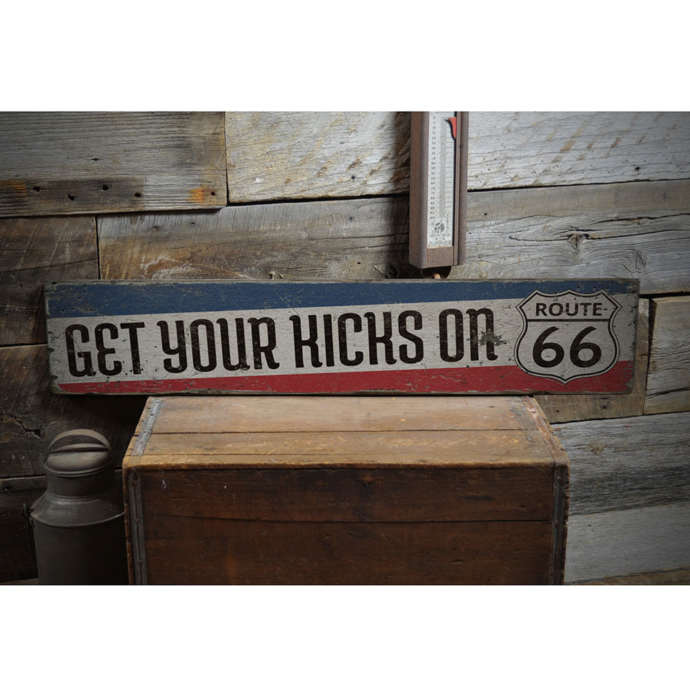 Get Your Kicks Route 66 Vintage Wood Sign
