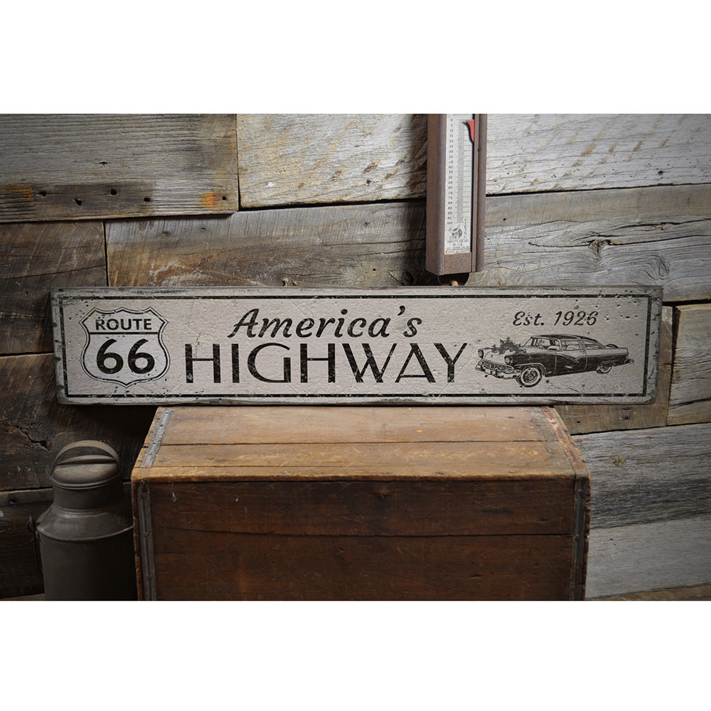 Est 1926 Route 66 Vintage Wood Sign