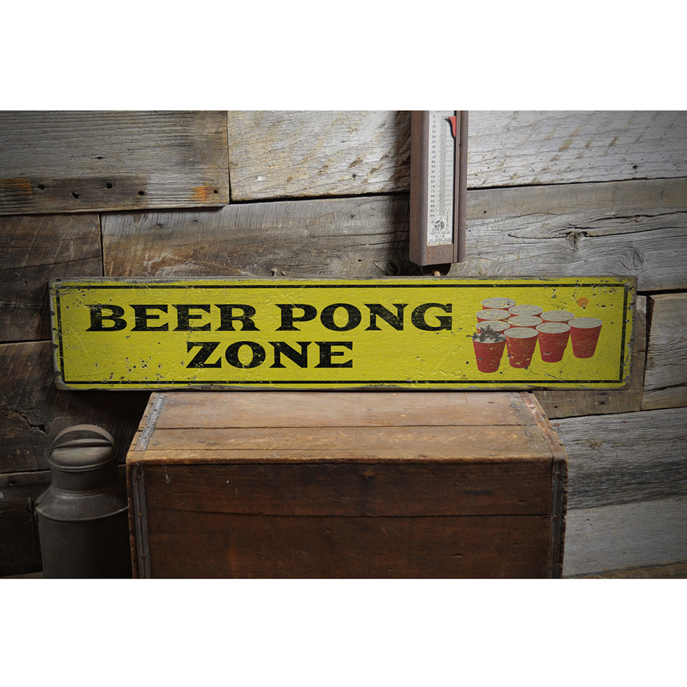 Beer Pong Zone Party Vintage Wood Sign