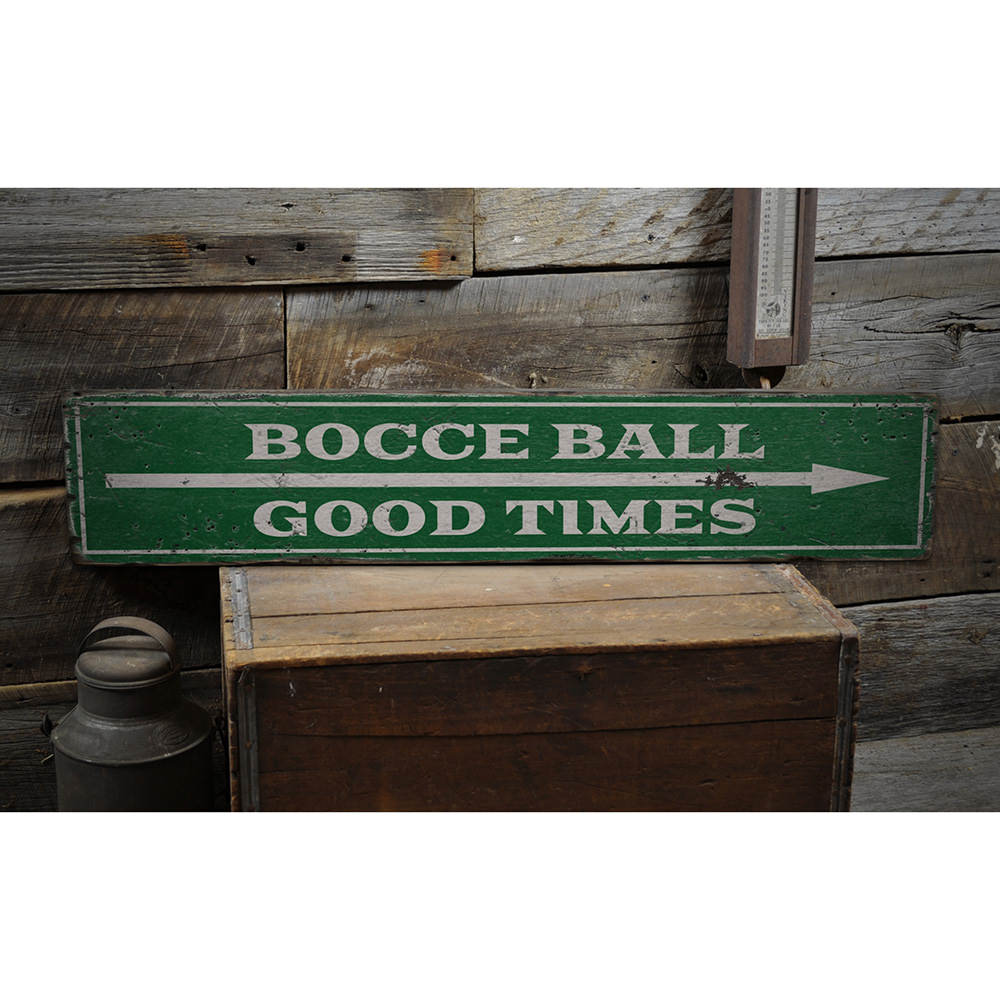 Bocce Ball Arrow Vintage Wood Sign
