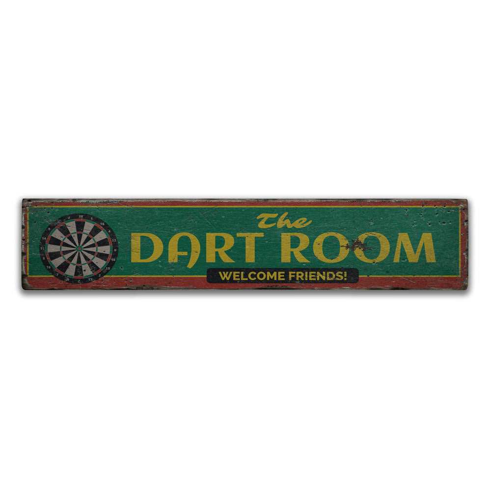 The Dart Room Vintage Wood Sign