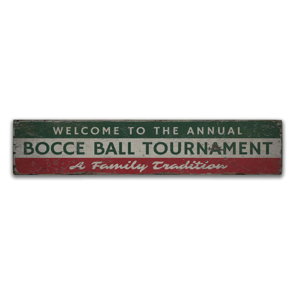 Bocce Ball Tournament Vintage Wood Sign