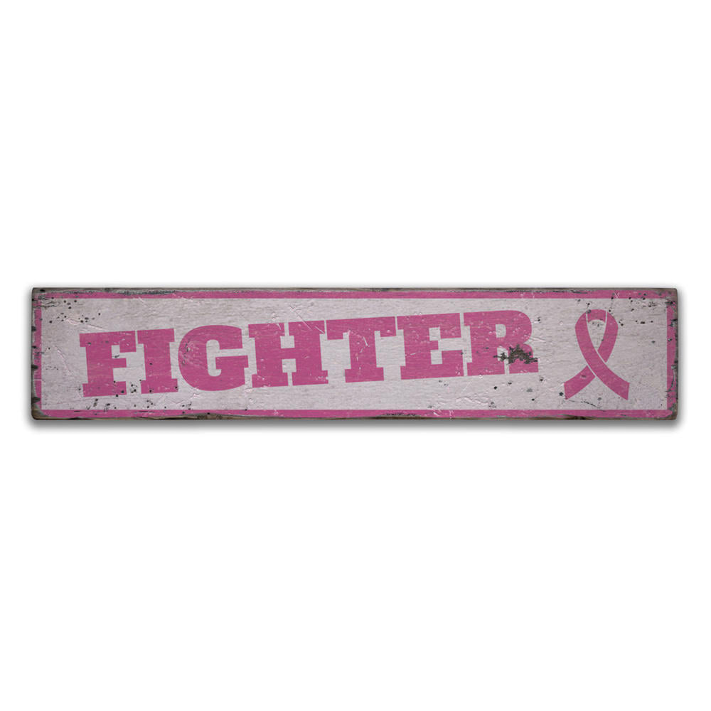Fighter Pink Ribbon Vintage Wood Sign