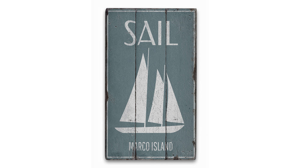 Sail Vintage Wood Sign