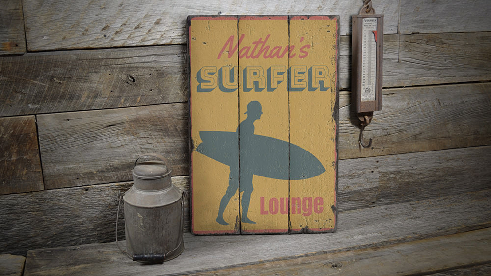 Surfer Lounge Rustic Wood Sign