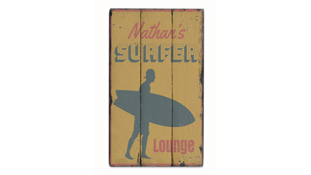 Surfer Lounge Vintage Wood Sign