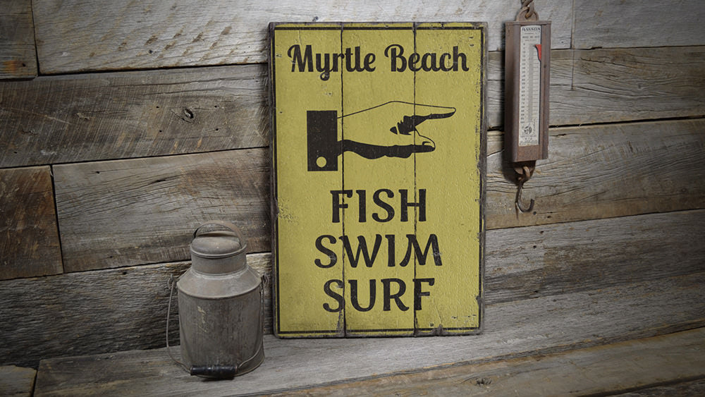 Fish Swim Surf Beach Rustic Wood Sign