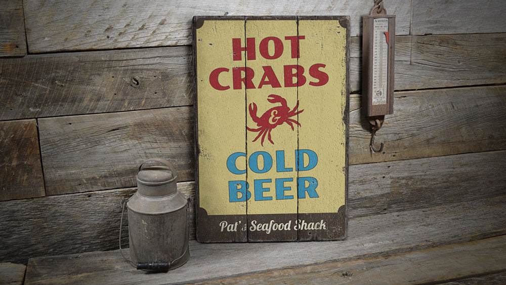 Hot Crabs and Cold Beer Vintage Wood Sign