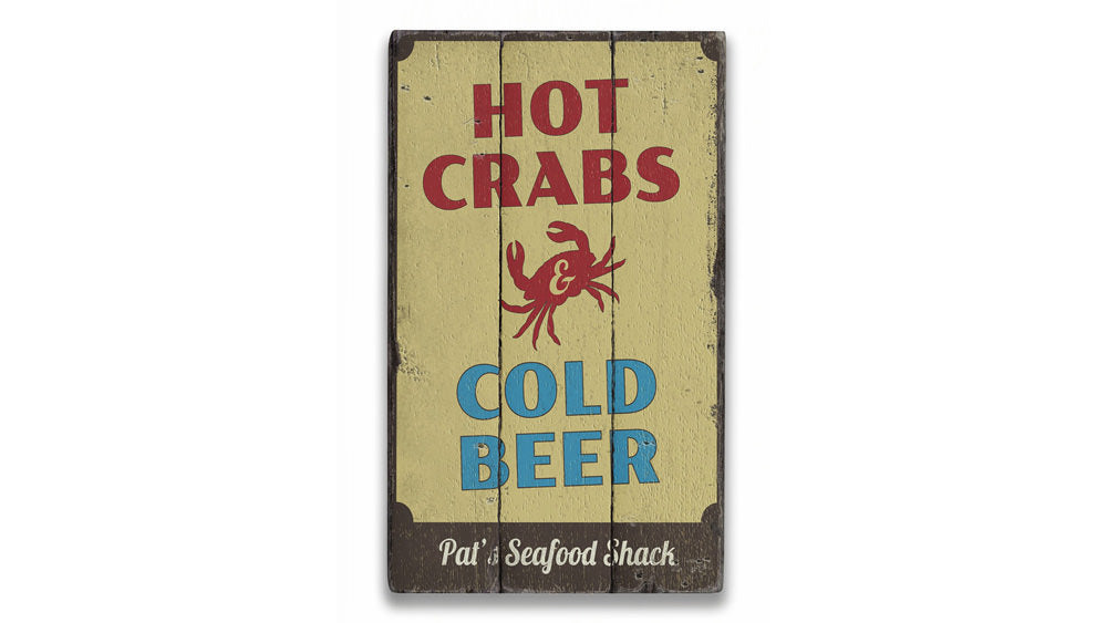 Hot Crabs and Cold Beer Rustic Wood Sign