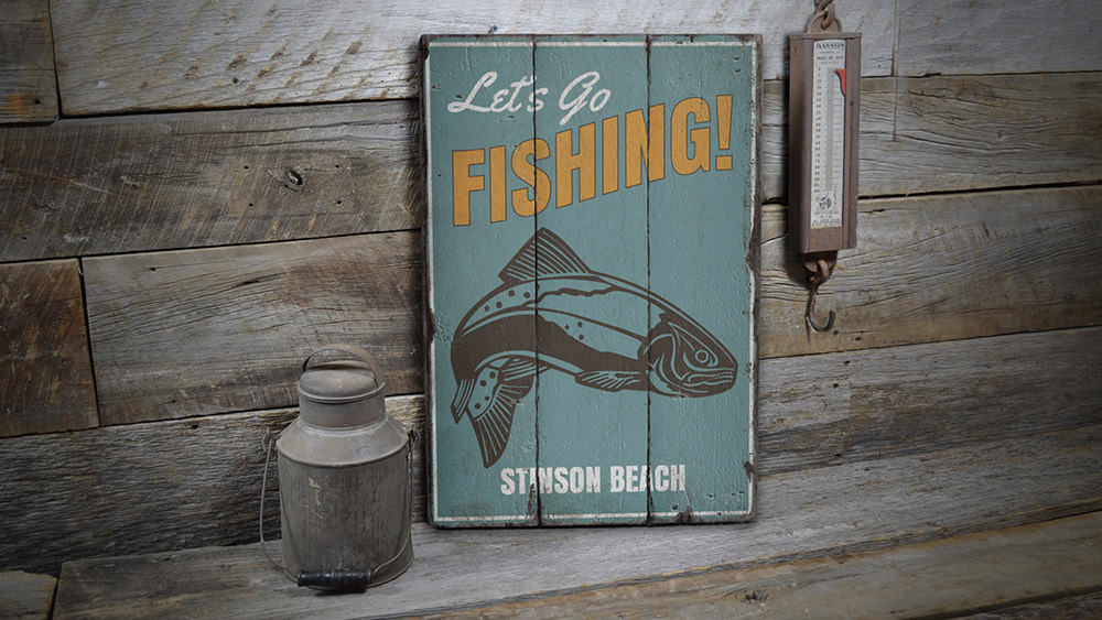 Lets Go Fishing Location Vintage Wood Sign