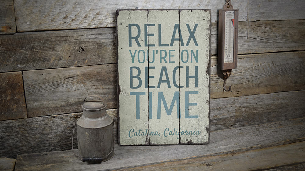 Relax On Beach Time Vintage Wood Sign