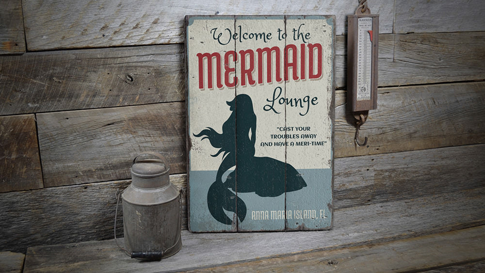 Mermaid Lounge Vintage Wood Sign
